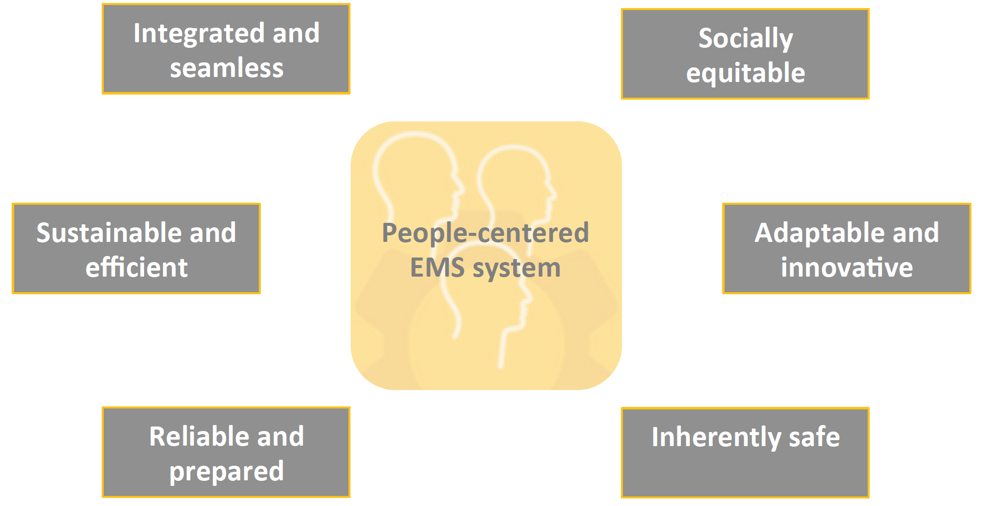 "The term ""people-centered"" is used rather than patient-centered as the EMS system must meet the needs of patients, families, communities and care providers."