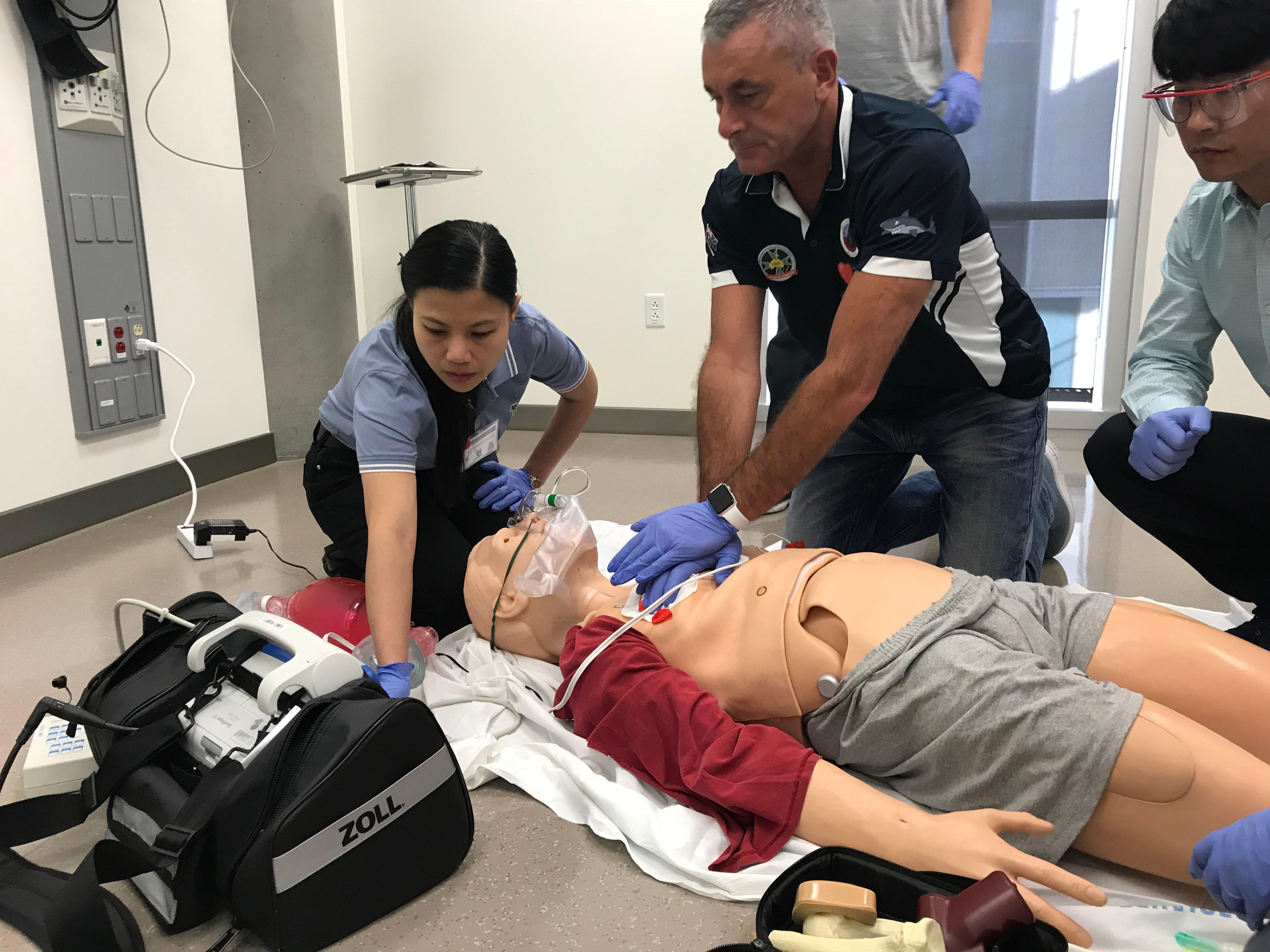 Students at CPRU practice a CPR scenario