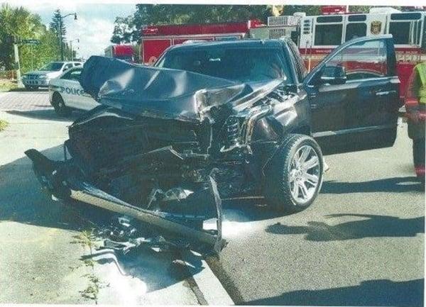 SUV T-bone accident scene
