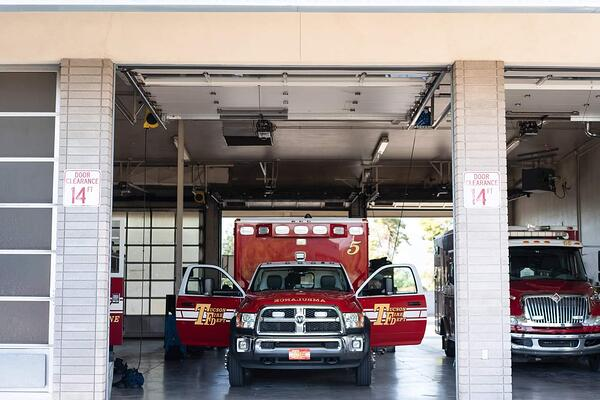 Firetruck parked in garage at Tucson Fire Department