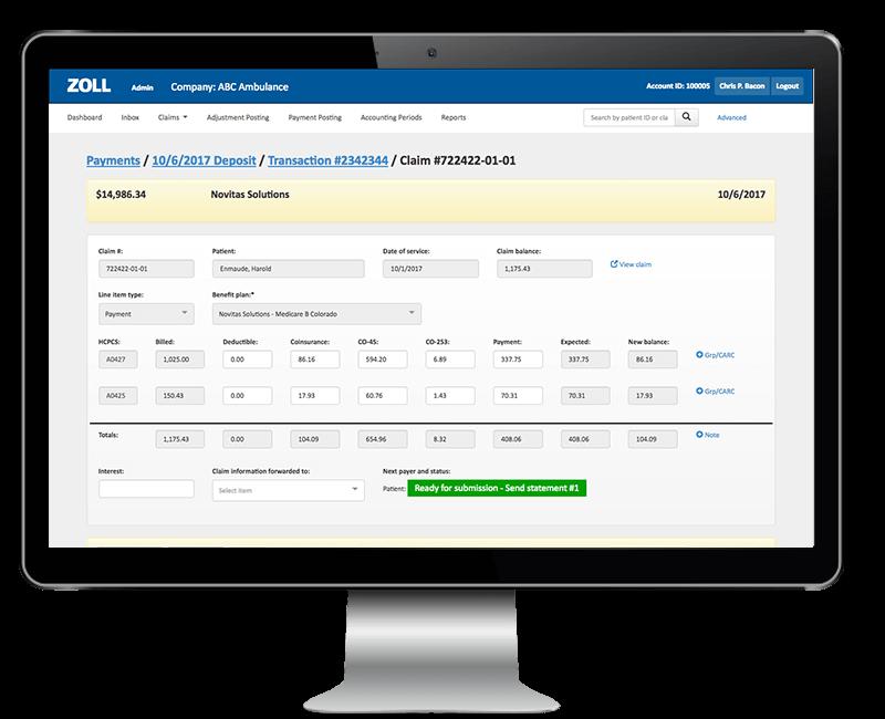 Screenshot of ZOLL cloud-based EMS billing software