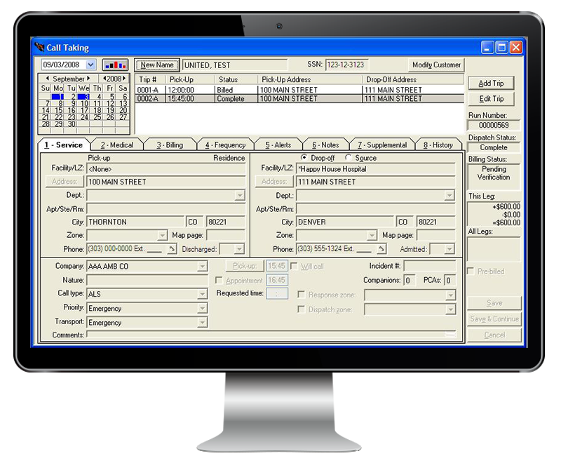 RescueNet Billing screenshot on monitor