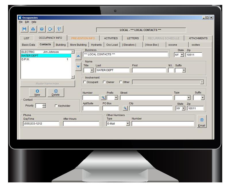 RescueNet FireRMS screenshot on computer monitor