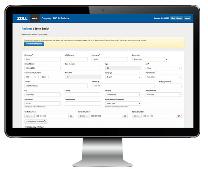 ZOLL-electronic-patient-care-reporting-software-screenshot-on-monitor