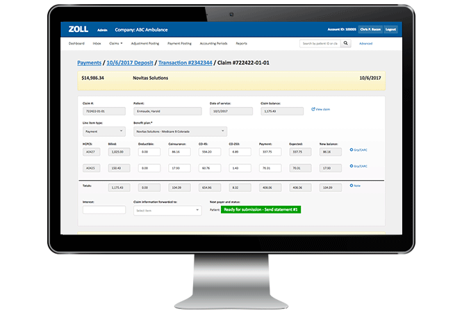 ZOLL EMS billing screenshot on monitor