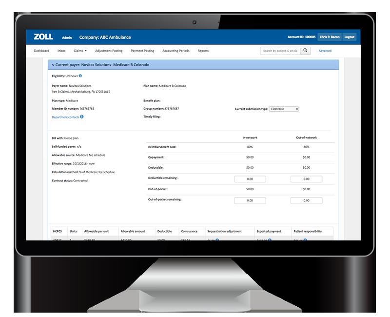 ZOLL billing screenshot on monitor