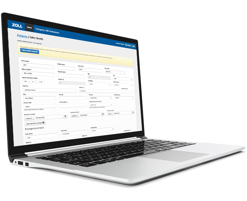ZOLL billing screenshot on laptop