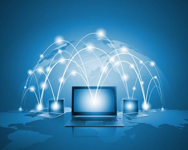 Laptops against globe blue illustration. Globalization concepts-1