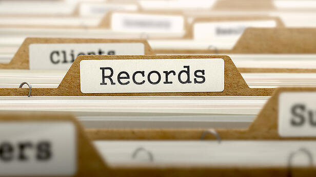 Records Concept. Word on Folder Register of Card Index. Selective Focus.-1
