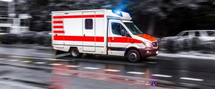 ambulance truck with lights flashing