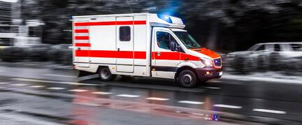 ambulance truck with lights flashing